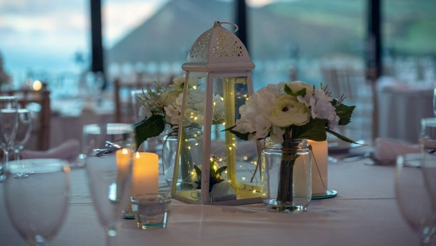 a picture of a decorated laid wedding table
