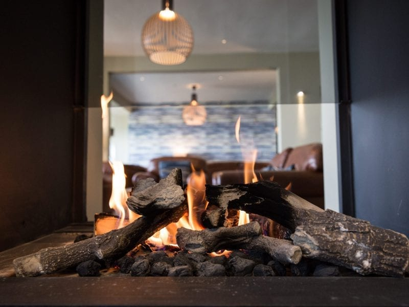 a picture of a lit fire in a fire place