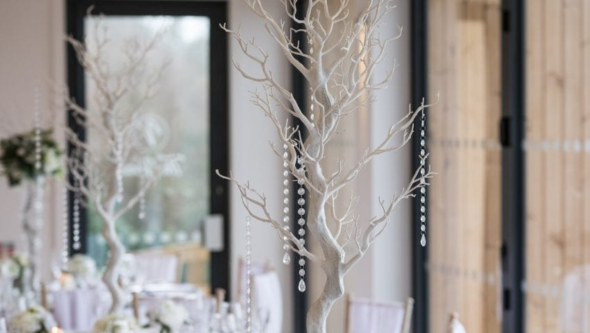 a close up picture of a decorative white tree with dangling beads