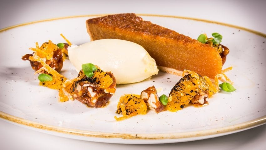 a picture of a plate of dessert, treacle tart