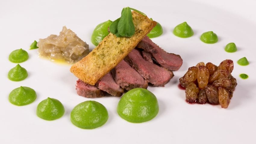 a picture of a plate of meat decorated with green puree