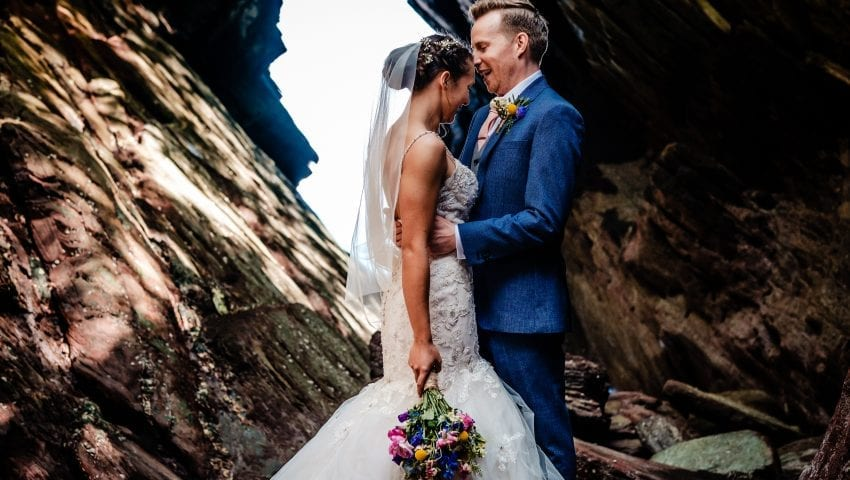 a picture of a couple in front of rocks